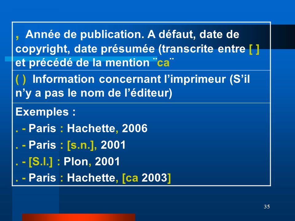 , Année de publication. A défaut, date de copyright, date présumée (transcrite entre [ ] et précédé de la mention ¨ca¨